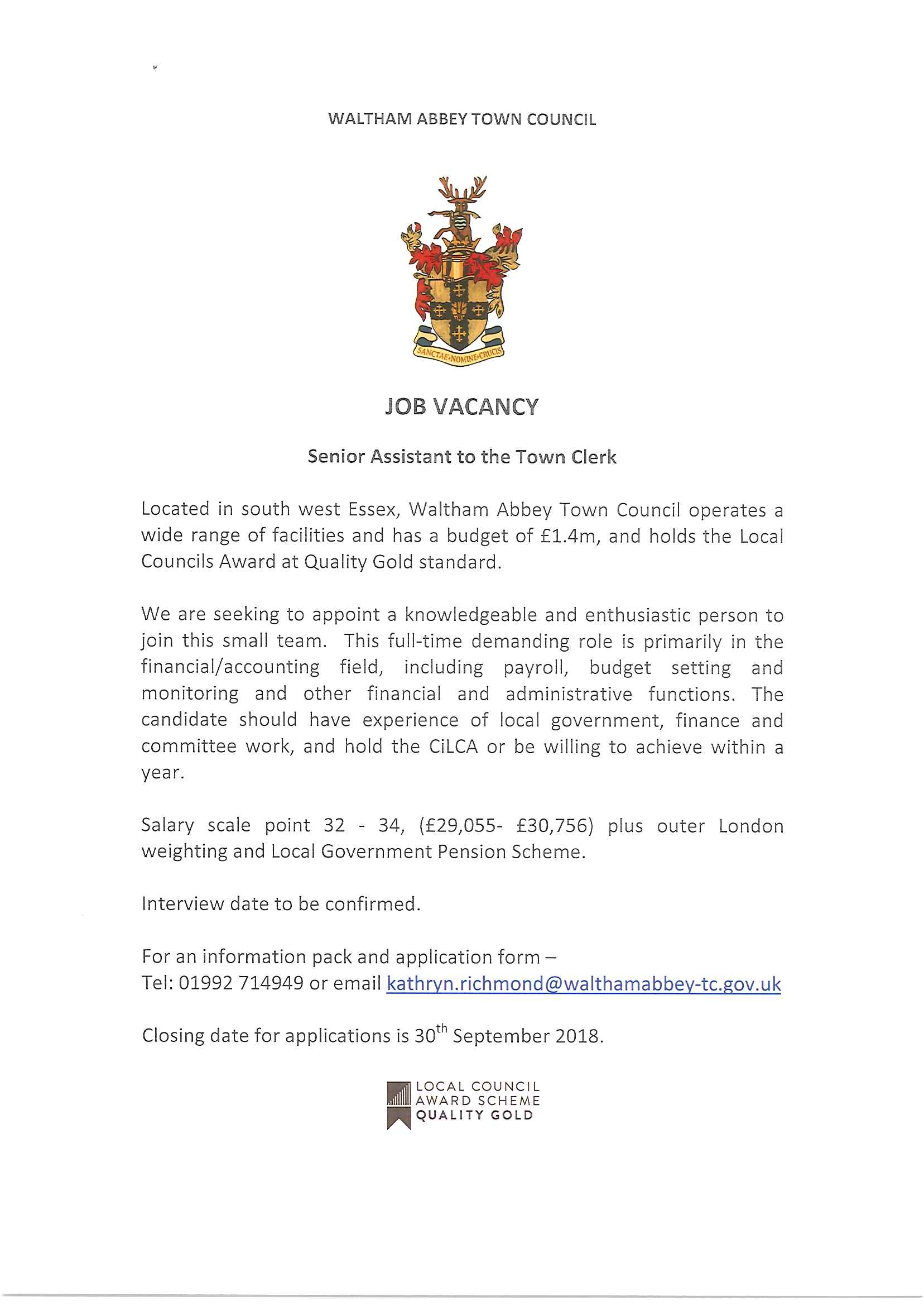 Job Vacancy - Senior Assistant to the Town Clerk - Waltham Abbey