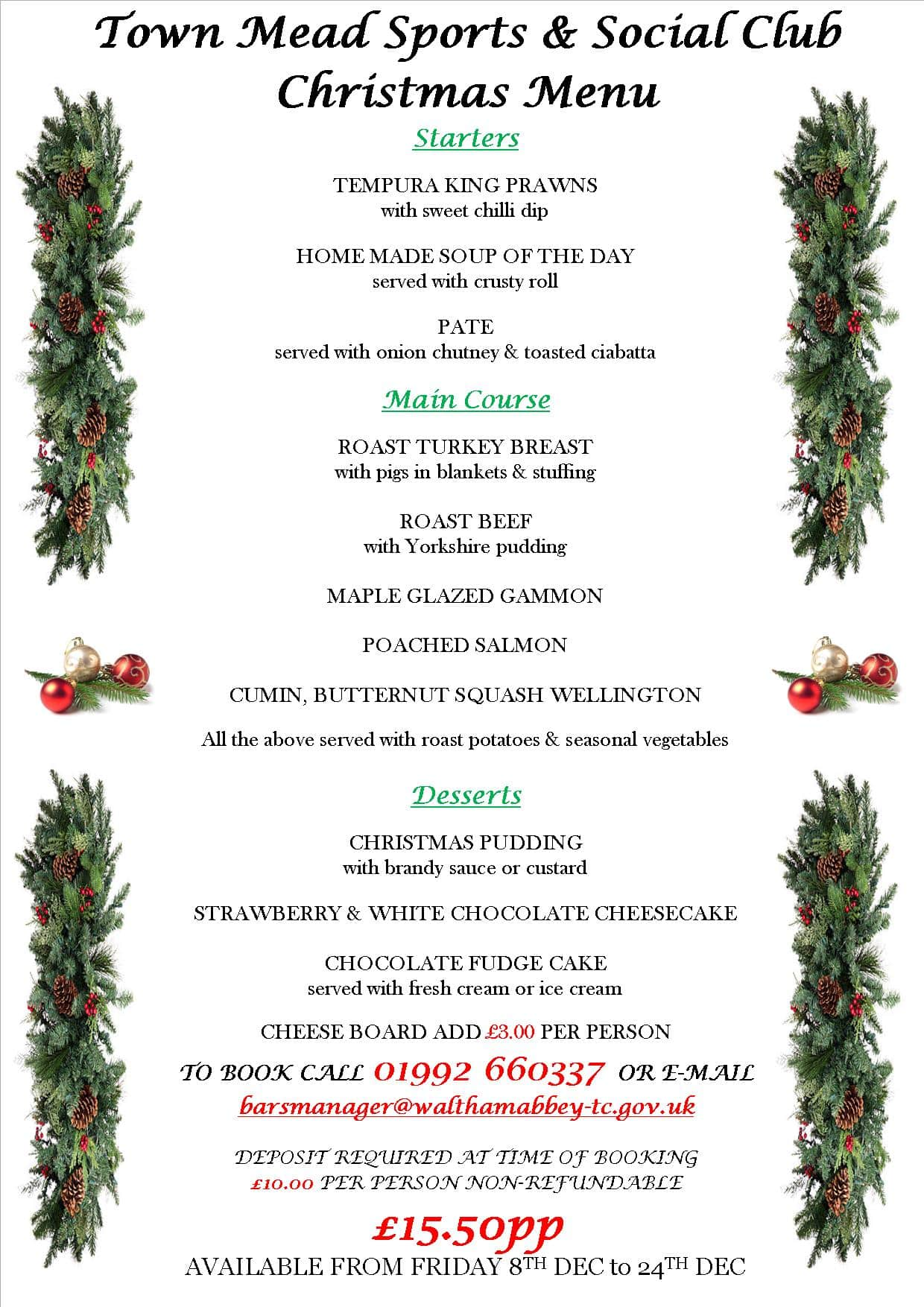 Town Mead Sports and Social Club - Christmas Menu from 8th December ...