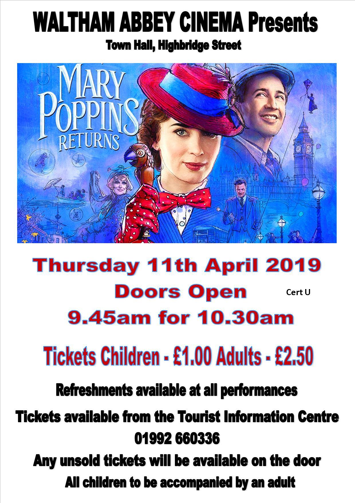 Waltham Abbey Cinema Presents - Mary Poppins Returns - Cert U